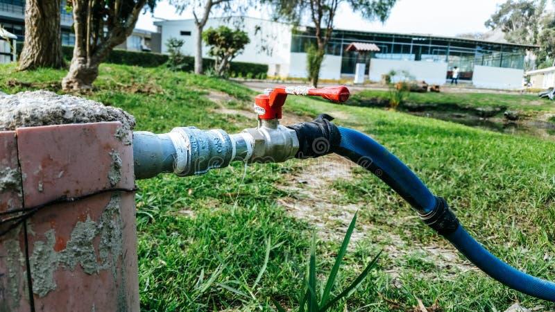 水管连接了到在绿草的水管 免版税图库摄影