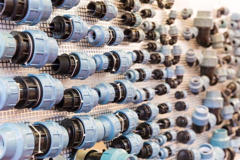 水管配件和fixturing的组分 免版税图库摄影