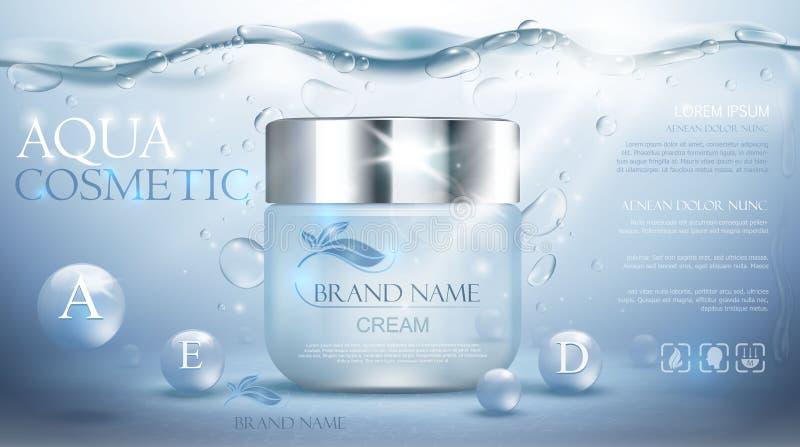 水色奶油色润湿的化妆用品 给现实水下的蓝色模板做广告 库存例证