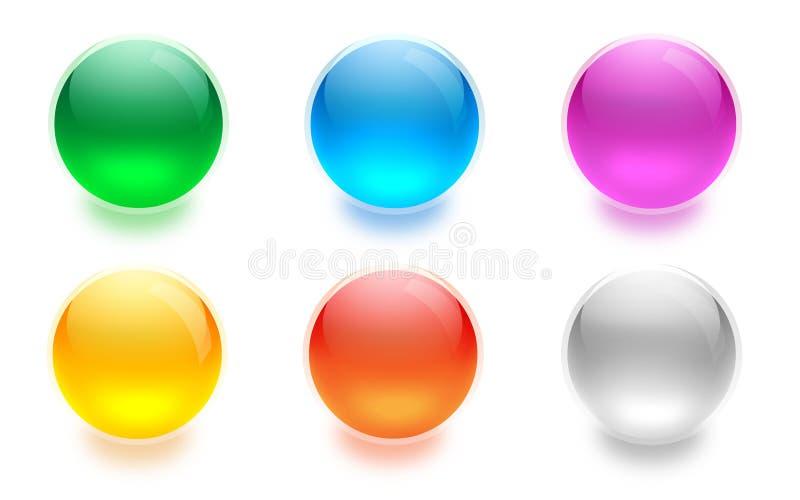 水色按钮 向量例证
