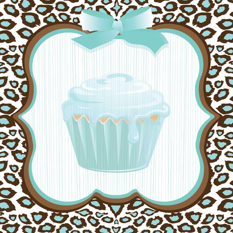 水色生日杯形蛋糕豹子打印 皇族释放例证