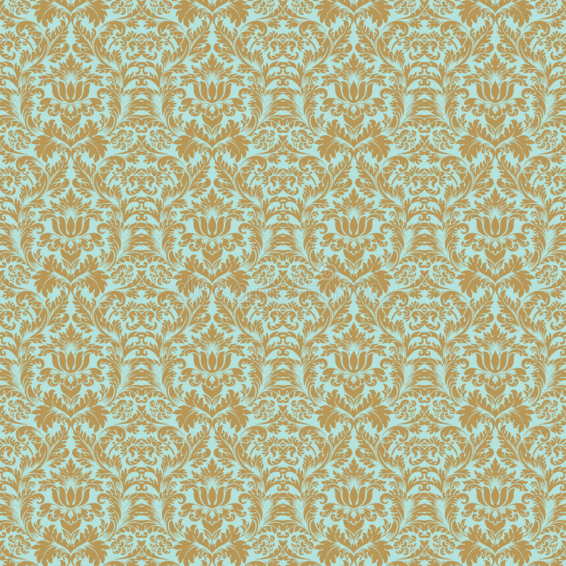 水色锦缎花卉金模式无缝的婚礼 库存例证