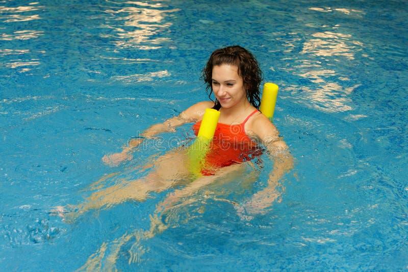 水色面条游泳妇女 库存照片