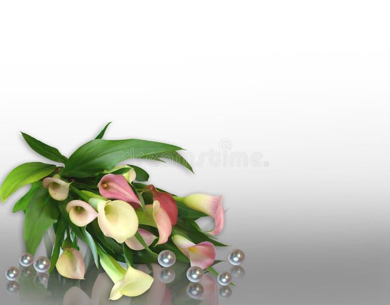 水芋属邀请百合婚礼 向量例证