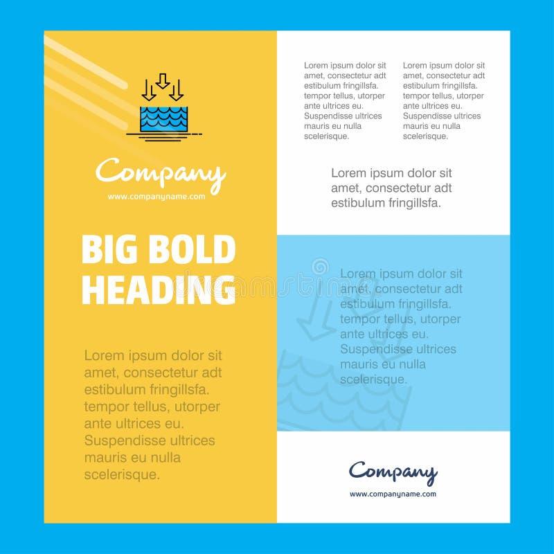 水蒸发商业公司海报模板 文本和图象的地方 向量背景 库存例证