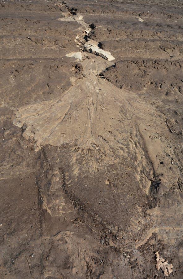 水蚀 关闭在土壤侵蚀 库存图片