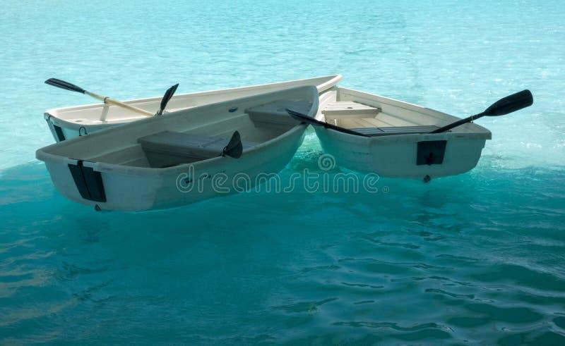 水表面上的小船在艺术和科学巴伦西亚的市前面 免版税库存图片