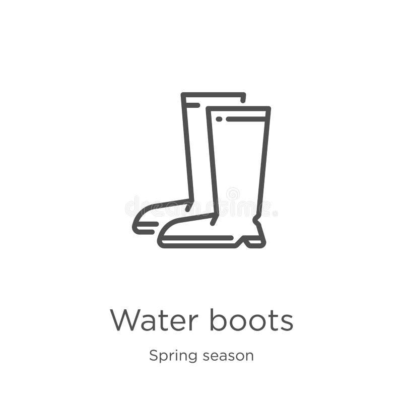 水起动从春季汇集的象传染媒介 稀薄的线水起动概述象传染媒介例证 概述,稀薄的线 库存例证