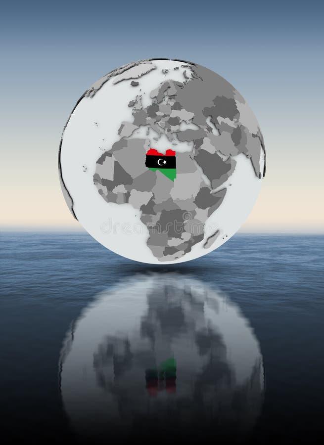 水面上的地球的利比亚 库存例证