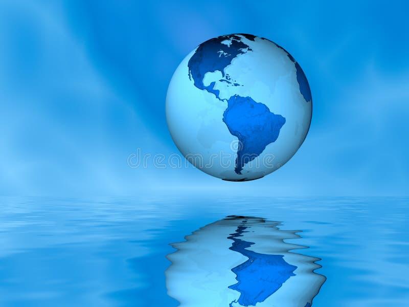水面上的地球 免版税库存图片