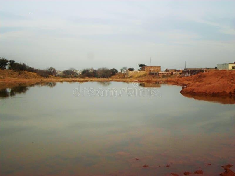 水风景与反射的 库存照片