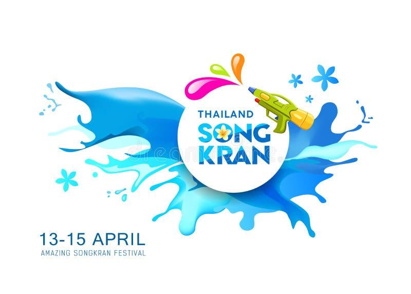 水飞溅传染媒介Songkran泰国横幅背景 皇族释放例证
