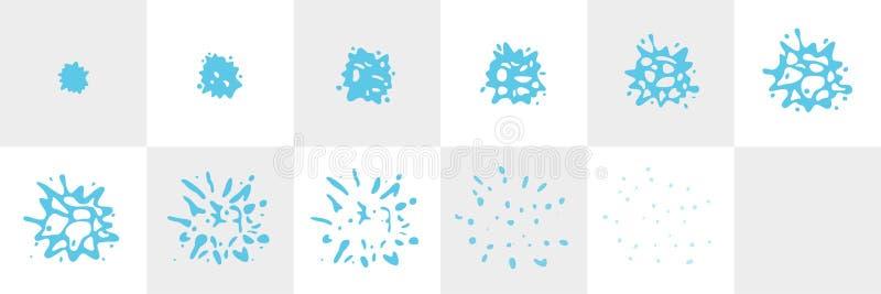 水飞溅序列动画魍魉板料 传染媒介飞溅构筑被隔绝的背景 r 皇族释放例证