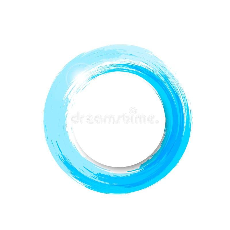 水飞溅横幅商标,水彩蓝墨水圈子环锭细纱机传染媒介例证 库存例证