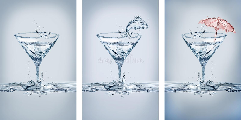 水马蒂尼鸡尾酒玻璃变异 图库摄影