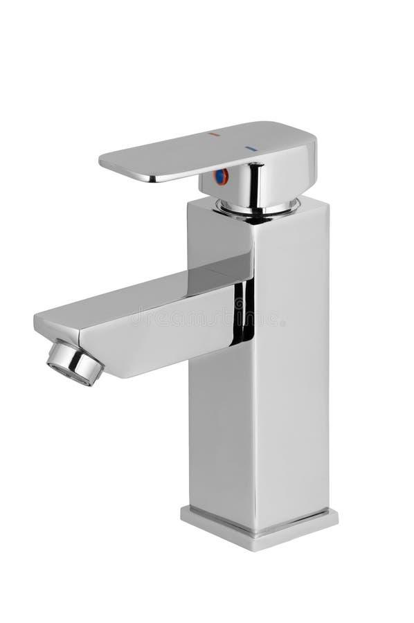 水龙头,卫生间的龙头,厨房搅拌器冷的热水 镀铬物被镀的金属 背景查出的白色 墙壁登上 免版税图库摄影