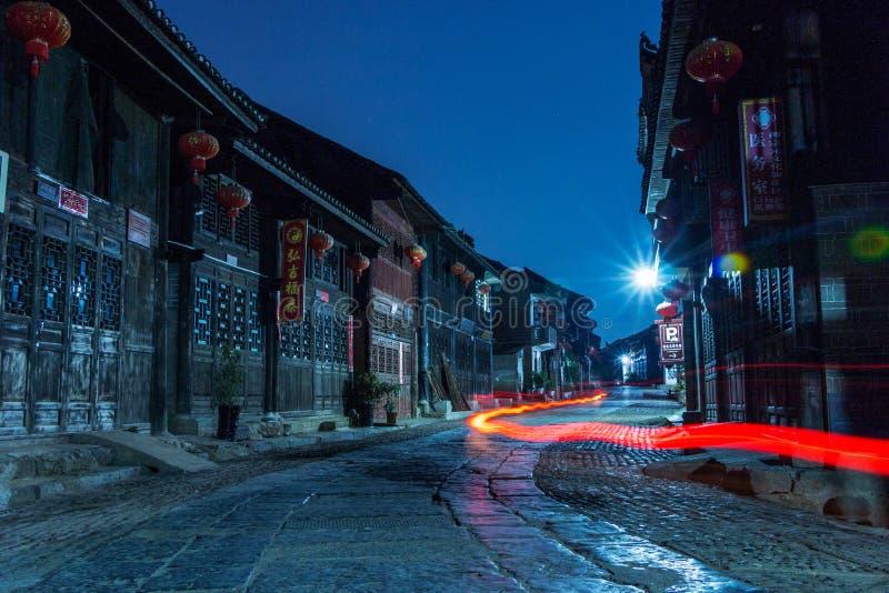 永州,湖南,中国,零陵Liuzi街夜视图 库存照片