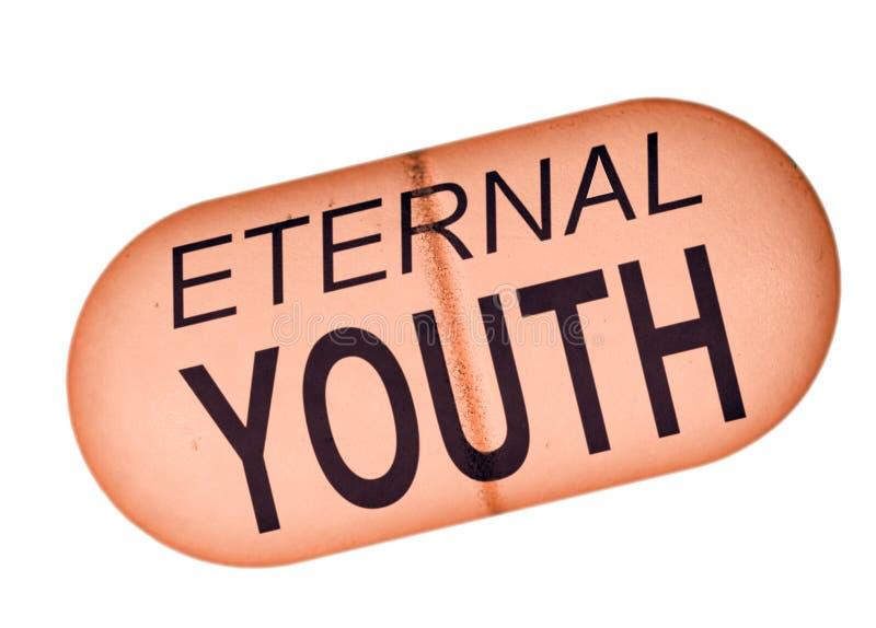永恒青年药片-概念,在白色背景的隐喻 库存照片