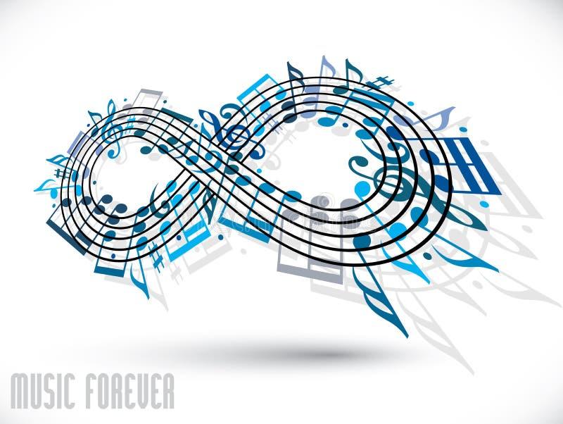 永远音乐概念,无限标志用音符a做了 皇族释放例证
