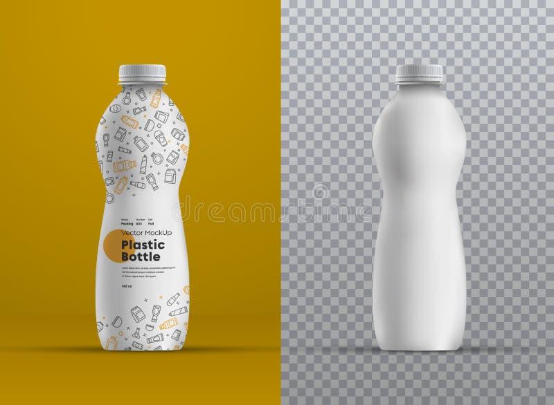 汁液、酸奶、牛乳气酒或者牛奶的传染媒介现实大模型塑料弯曲的瓶 皇族释放例证