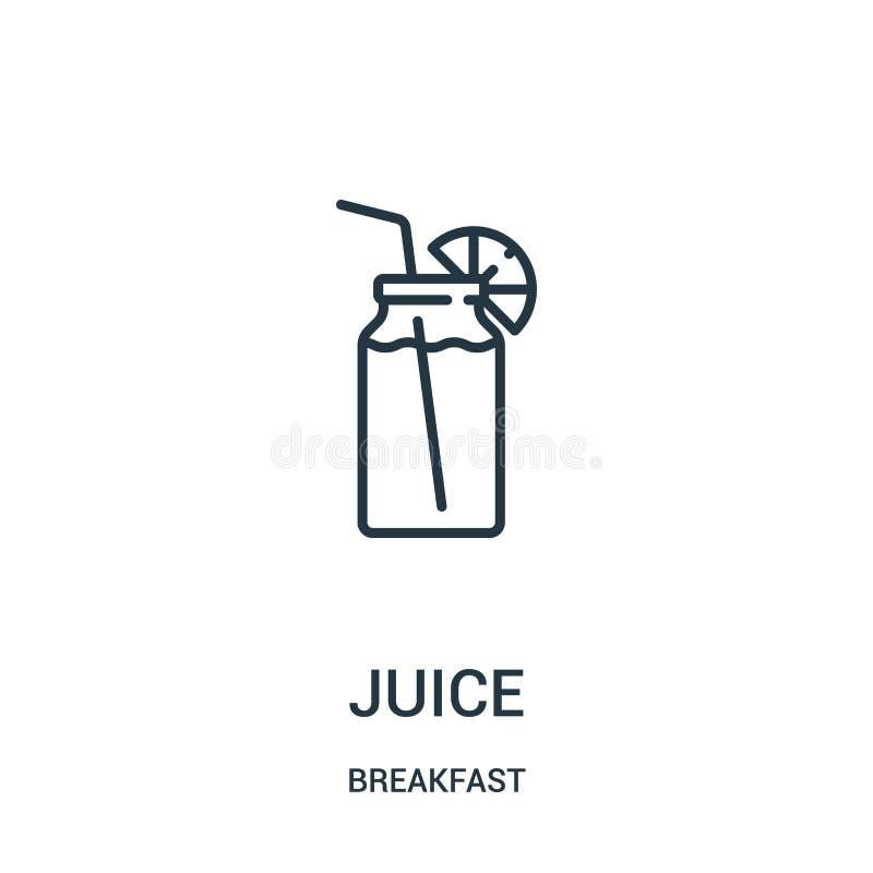 汁液从早餐汇集的象传染媒介 稀薄的线汁液概述象传染媒介例证 线性标志为在网的使用和 向量例证