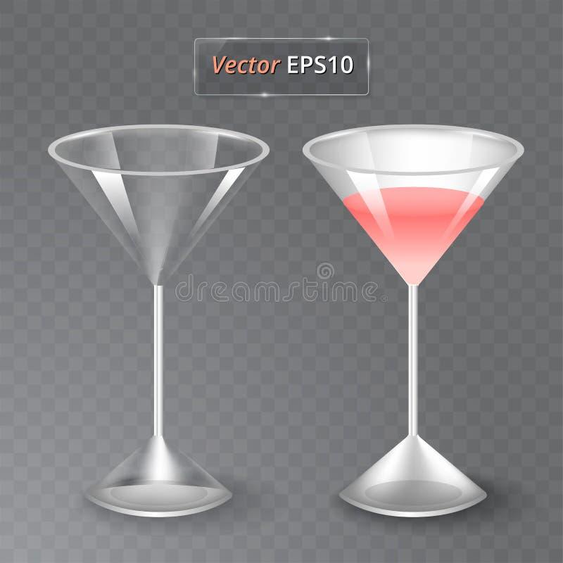 汁液和一块空的玻璃 果子有机饮料 健康的饮食 干净吃 高玻璃用饮料 透明照片 库存例证