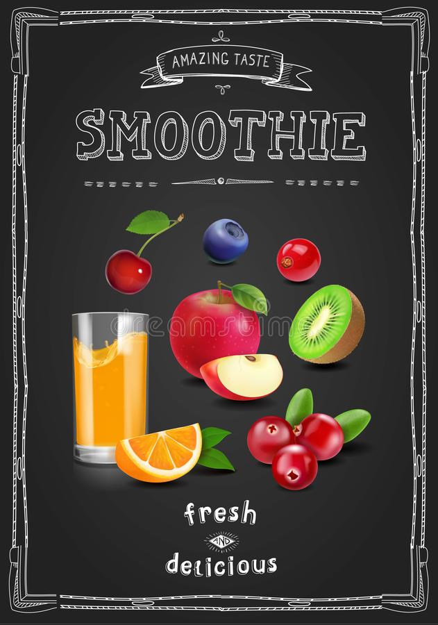 汁液和圆滑的人餐馆菜单 新鲜水果饮料点心餐馆酒吧和咖啡馆小册子在黑板 向量例证