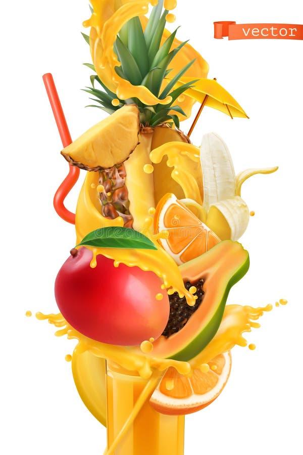汁液和甜热带水果飞溅  芒果、香蕉、菠萝、番木瓜和桔子 3d向量 皇族释放例证