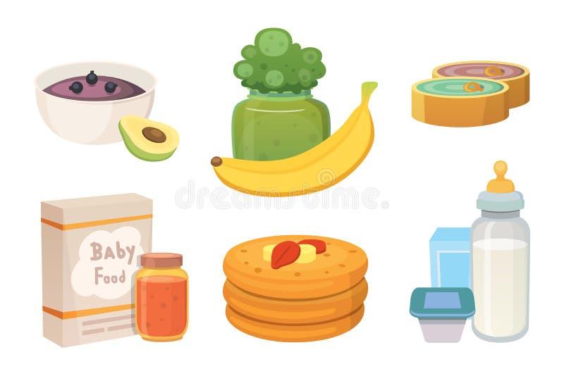 汁液和纯汁浓汤从绿色苹果和硬花甘蓝婴孩的 婴孩动画片产品集的食物 皇族释放例证
