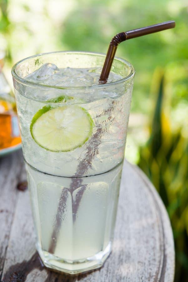 汁液柠檬在表的碳酸钠混合 库存照片