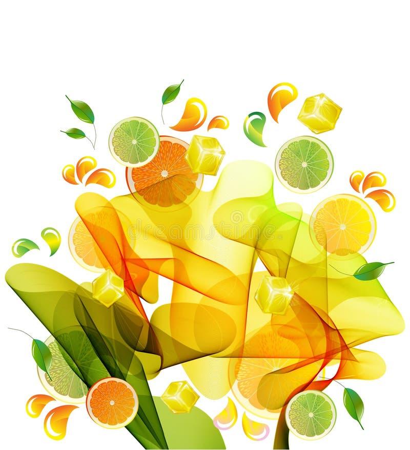 汁液柠檬石灰橙色飞溅 向量例证