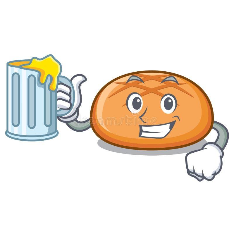 汁液汉堡包小圆面包吉祥人动画片 皇族释放例证
