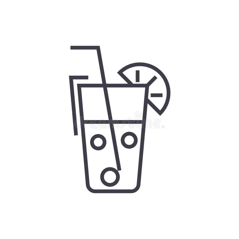 汁液玻璃,饮料导航线象,标志,在背景,编辑可能的冲程的例证 向量例证