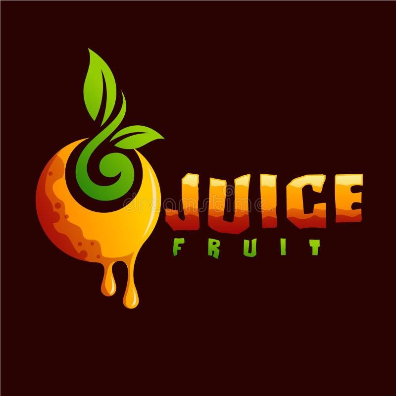 汁液立即可用果子的商标 向量例证
