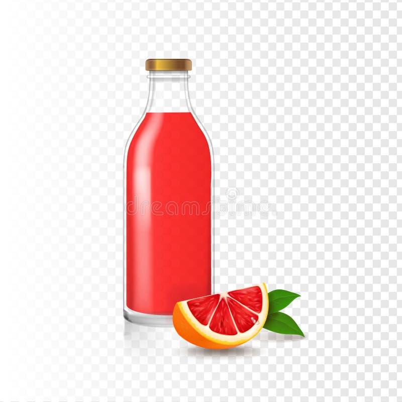 汁液葡萄柚玻璃瓶传染媒介现实果子饮料包装 库存例证