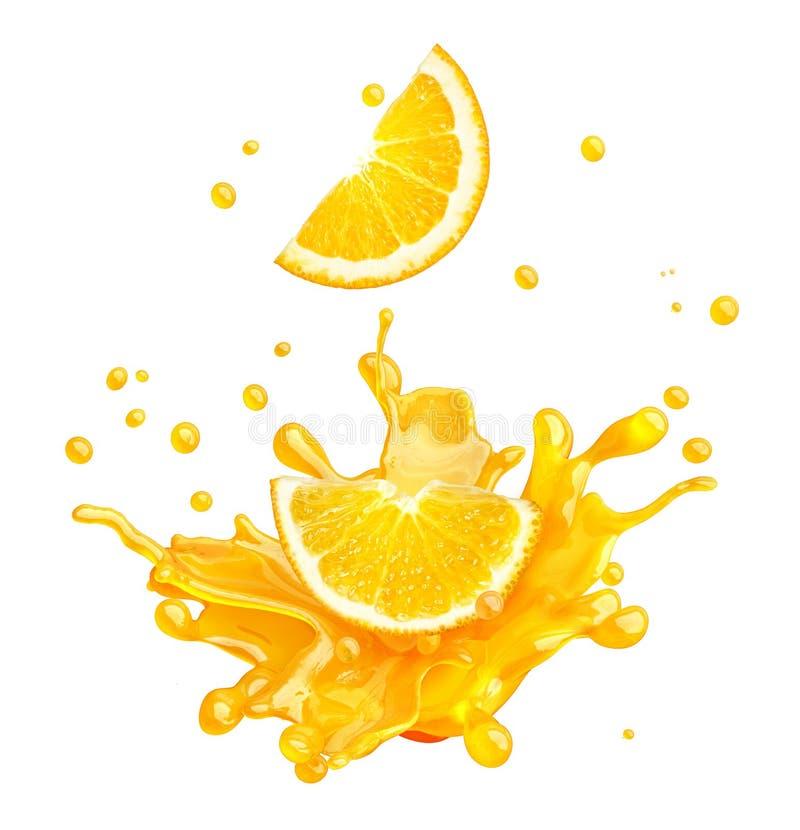 汁液被隔绝的飞溅用桔子和小滴 3d例证 皇族释放例证