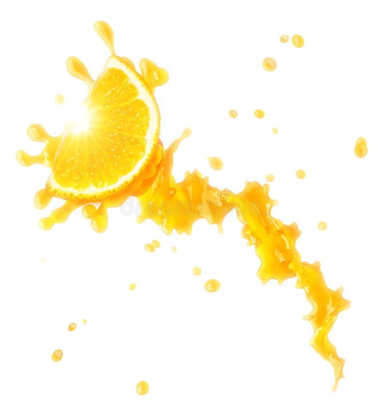 汁液被隔绝的飞溅用桔子和小滴 3d例证 向量例证