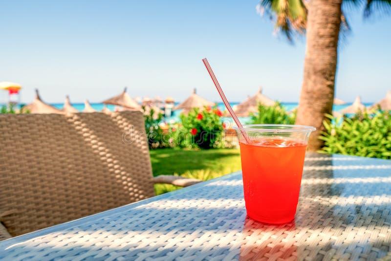 汁液颜色鸡尾酒在旅游假期时 酒精饮料 免版税库存图片