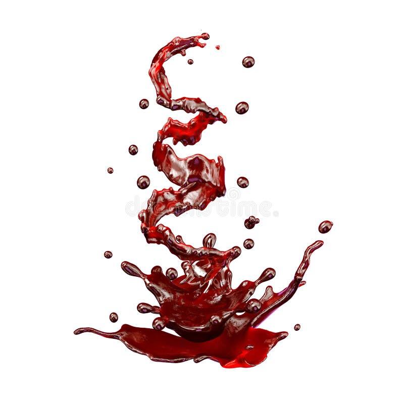 汁液飞溅与被隔绝的小滴 3d例证 皇族释放例证