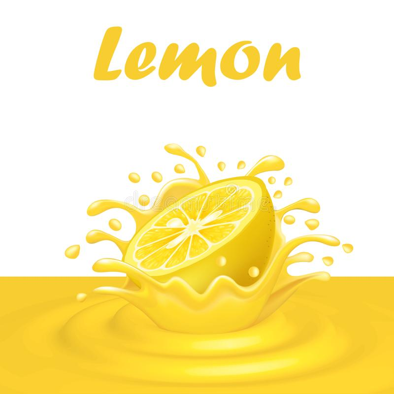 汁液飞溅从一个落的柠檬和下落的 向量例证