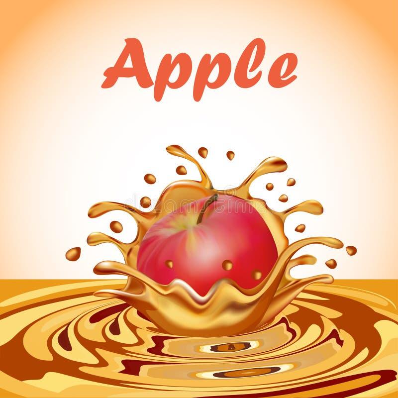 汁液飞溅从一个落的苹果的 皇族释放例证