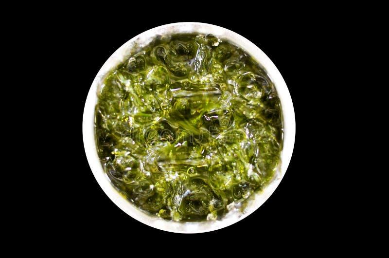 汁液,果子,冰,从顶视图的玻璃 免版税库存图片