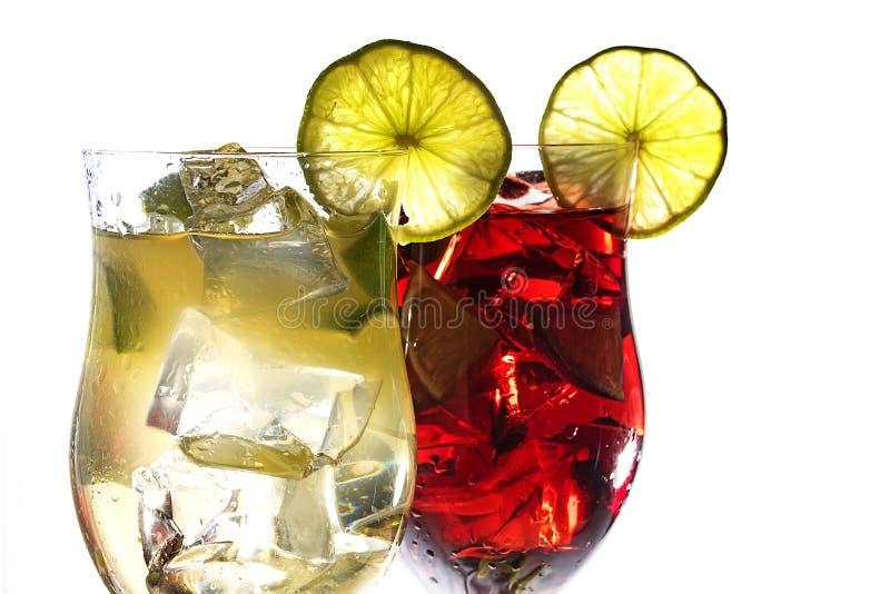 汁液, berr两个鸡尾酒杯,绿色和红色配制饮料  免版税库存照片