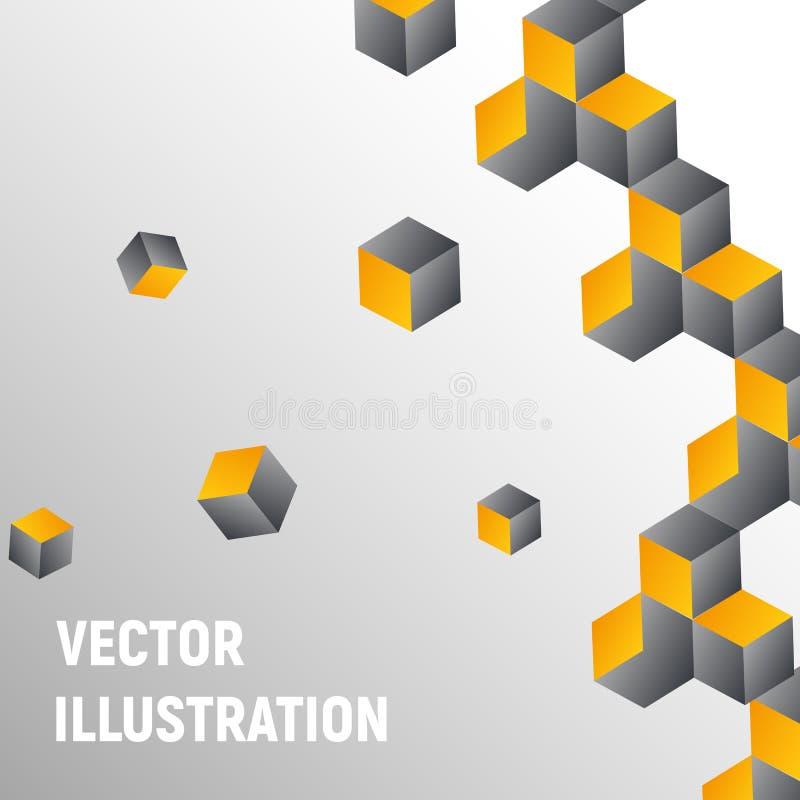 求在灰色和黄色颜色的抽象背景的立方 免版税库存图片