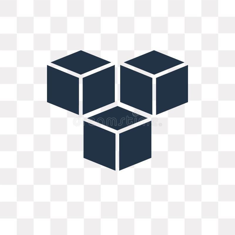 求在透明背景隔绝的传染媒介象的立方,立方体trans 库存例证