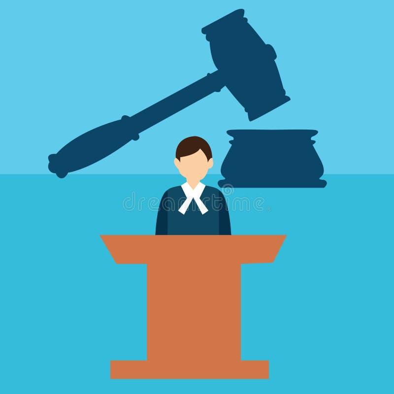 求婚法官书桌试验锤子惊堂木法律正义平的象 向量例证