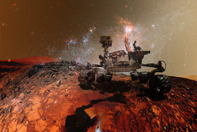 求知欲探索火星的表面行星火星车 皇族释放例证