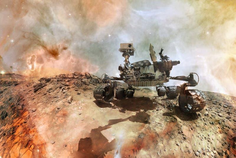 求知欲探索火星的表面行星火星车 库存例证