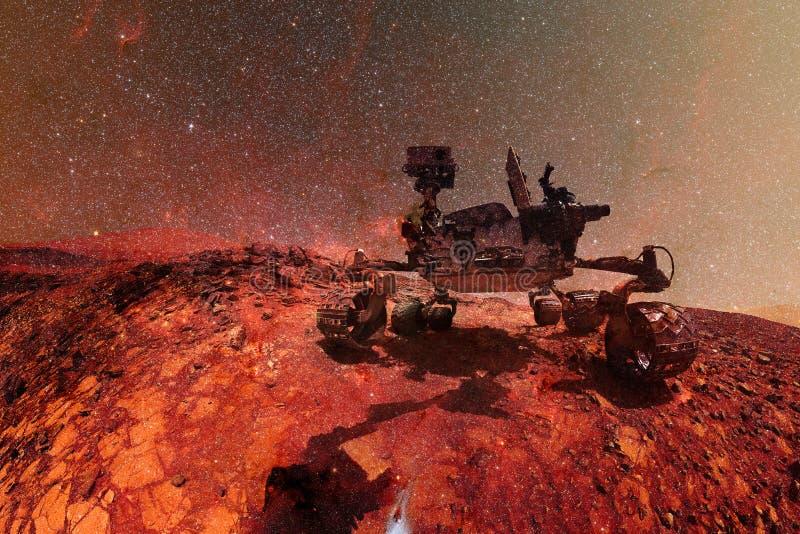 求知欲探索红色行星的表面火星车 向量例证