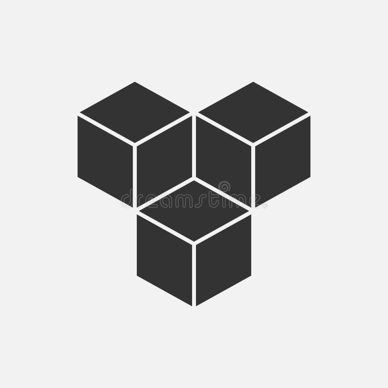 求等量商标概念, 3d传染媒介例证的立方 平的设计样式 立方体建筑 标志样式 设计图象 时尚b 库存例证